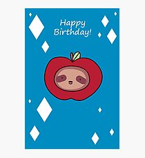 Happy Birthday - Apple Sloth Face Photographic Print