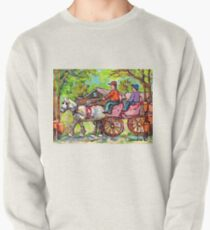 TAPPING MAPLE TREES CARRIAGE RIDE WHITE HORSE CABANE A SUCRE PAINTINGS CANADIAN LANDSCAPE CAROLE SPANDAU ART Pullover