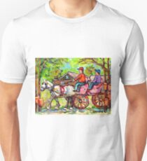 TAPPING MAPLE TREES CARRIAGE RIDE WHITE HORSE CABANE A SUCRE PAINTINGS CANADIAN LANDSCAPE CAROLE SPANDAU ART T-Shirt