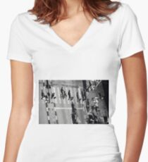 Elevated view of a city crossroads with zebra crossing and pedestrians crossing a street.with large shadows cast by the people.  Women's Fitted V-Neck T-Shirt