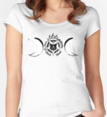 Triple Goddess - Satanic Baphomet Cat 666 Women's Fitted Scoop T-Shirt