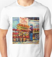 FARMER'S MARKET SCENES APPLE BUSHELS PUMPKIN SEASON CANADIAN PAINTINGS ONTARIO AND QUEBEC ART CAROLE SPANDAU T-Shirt