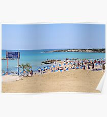 Resort beach. Photographed in Paphos, Cyprus  Poster