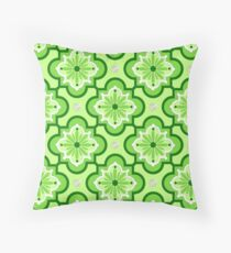 Moroccan tile pattern - Lime Green Throw Pillow