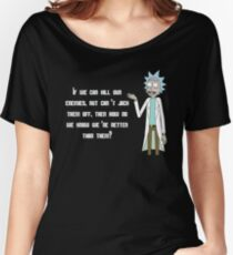 Rick and Morty Shirt – 'If We Can Kill Our Enemies But Can't Jack Them Off' Rick Sanchez Quote Shirt – From Season 3, Episode 8 Motry's Mind Blowers - Rick & Morty Shirt - Rick Sanchez T-Shirt  Women's Relaxed Fit T-Shirt