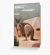 Känguru mit Baby vor Uluru im australischen outback Greeting Card