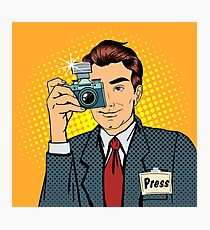 Photographer Paparazzi. Reporter with Camera. Media Representative. Man Taking a Picture. Journalist with Camera. Mass Media. Pop Art Banner.  Photographic Print