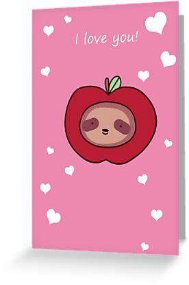 I love you sloth apple face greeting cards by saradaboru redbubble i love you sloth apple face by saradaboru m4hsunfo