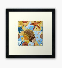 Shells and starfish on an abstract background Framed Print