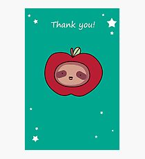 Thank You - Sloth Apple Face Photographic Print