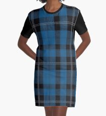 Blue Clan Ramsay Hunting Tartan Plaid Pattern Graphic T-Shirt Dress