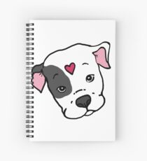 Gray/White Sweet Pitbull Face with Heart Spiral Notebook