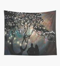 Date Night, trees, stars, string of lights, galaxy, dating couple Wall Tapestry