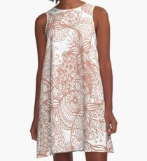 Rose Gold Zen Doodles A-Line Dress
