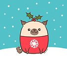 Christmas Pug Puppy  by zoel