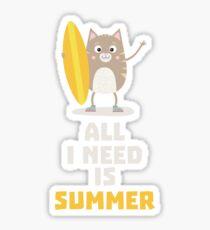 Summer Cat Surfing Rj899 Sticker