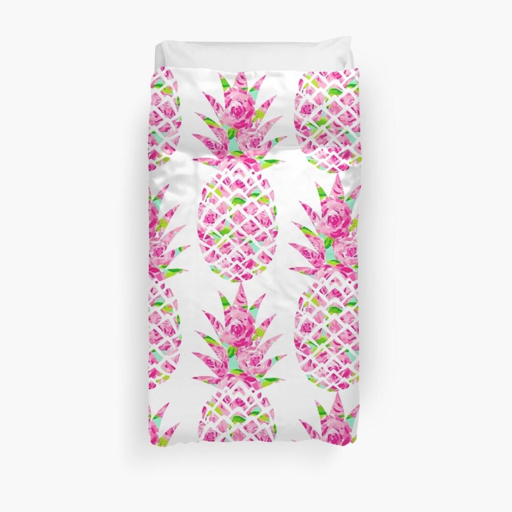 Rosa Rosen Ananas-Aufkleber Bettbezug