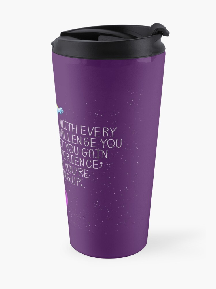 "Alternate view of ""Every Day You're Leveling Up"" Flying Space Squirrel Travel Mug"
