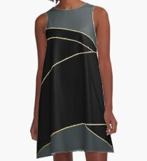 Angelica . Grey and black tape  A-Line Dress