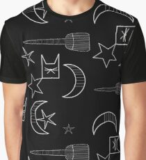 Witchy Halloween Theme Pattern Graphic T-Shirt