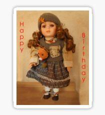 Girls, Doll Birthday card Sticker