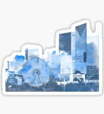 downtown atlanta skyline in blues Sticker