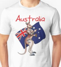 Australia Flip Off Salute Tattooed Kangaroo Design T-Shirt