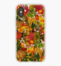 Autumn Fall Leaves Pumpkin Thanksgiving Seasonal Woodland Collage iPhone Case