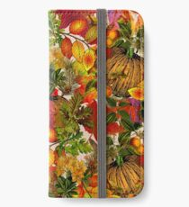 Autumn Fall Leaves Pumpkin Thanksgiving Seasonal Woodland Collage iPhone Wallet/Case/Skin