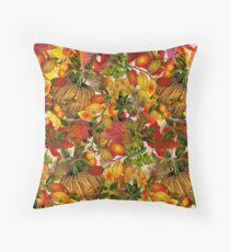 Autumn Fall Leaves Pumpkin Thanksgiving Seasonal Woodland Collage Floor Pillow