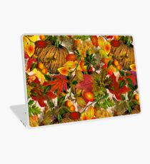Autumn Fall Leaves Pumpkin Thanksgiving Seasonal Woodland Collage Laptop Skin