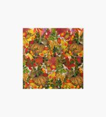 Autumn Fall Leaves Pumpkin Thanksgiving Seasonal Woodland Collage Art Board