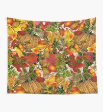 Autumn Fall Leaves Pumpkin Thanksgiving Seasonal Woodland Collage Wall Tapestry