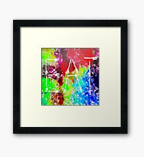 EAT alphabet by fork with colorful painting abstract background Framed Print