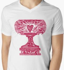 Red Heart Flame Men's V-Neck T-Shirt