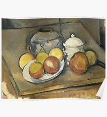 Paul Cézanne - Straw-Trimmed Vase, Sugar Bowl and Apples (1893) Poster