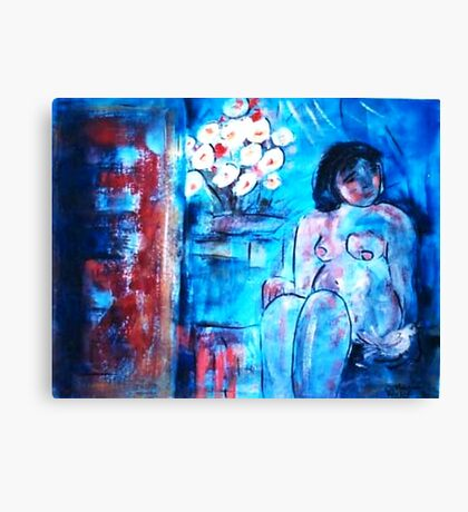 A girl with a Dove  Canvas Print