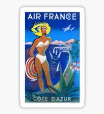 1953 Air France Cote D'Azur Travel Poster Sticker