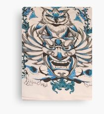 Blue Silver Owl Perched Over Asian Theater Mask Art Design  Canvas Print