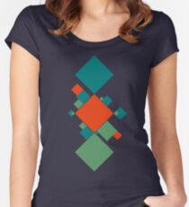 Abstract Squares Women's Fitted Scoop T-Shirt