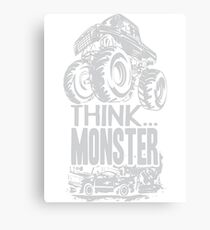 Think Monster Truck Grey Canvas Print