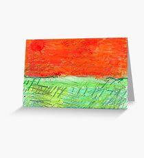 Red Sun, Orange Sky, Green Earth Greeting Card