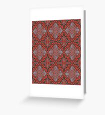 Sliced pomegranat, bohemian pattern, terracotta & grey Greeting Card