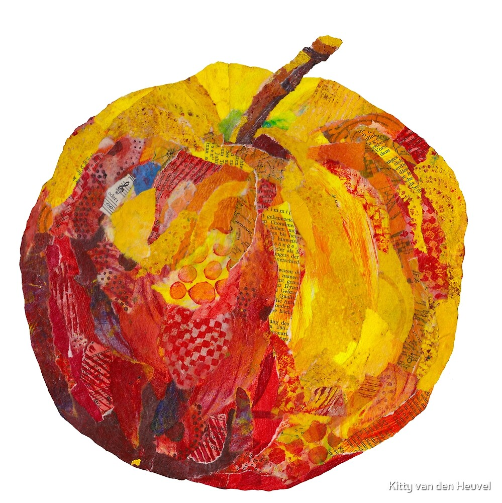 Eat me! Red apple in mixed media collage by Kitty van den Heuvel