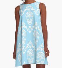 blue victorian skulls  A-Line Dress