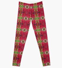 Green and Magenta Unique Flower Photo Bold Bright Pattern Print  Leggings