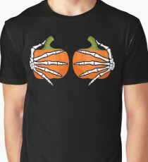 Skeleton Hands On Pumpkin Breasts Funny Sarcastic  Graphic T-Shirt