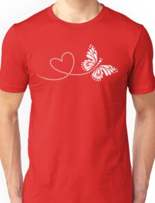 Butterfly, Heart, Forever Love, Valentine´s Day Unisex T-Shirt