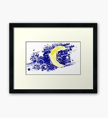 Painted moon in the night sky Framed Print
