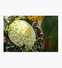Extravagant Jeweled Dishes - Carved Melon Flower With Green Pearls Photographic Print